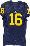 Football Collectibles:Uniforms, Circa 2009 Denard Robinson Game Worn & Signed Michigan Wol...