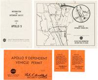 Apollo 9: Group of Launch Day Relics including Two Information Brochures, a Vehicle Permit, and Two Guest Tickets, all f...