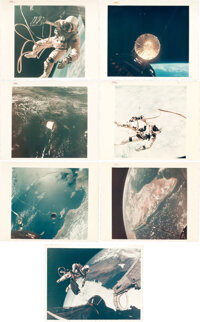 "Gemini Missions: Group of Seven Original NASA ""Red Number"" Color Photos"