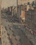 Paintings, Alfred Mira (American, 1900-1980). East 14th Street, New York . Oil on canvas. 30-1/2 x 24 inches (77.5 x 61.0 cm). Sign...