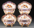 Ceramics & Porcelain, Set of Four Derby Kings Pattern Porcelain Covered Sauce Tureens on Stands, circa 1820. Marks: (crown-crossed bat... (Total: 8 Items)