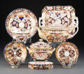 Ceramics & Porcelain, A Thirty-One-Piece Derby Porcelain Assembled Tea Service, 1806-1825 and later. Marks to largest: (crown-crossed batons-D). 6... (Total: 31 Items)