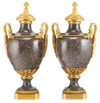 A Pair of French Gilt Bronze Mounted Porphyry Vases 28-1/4 x 14 x 10-1/4 inches (71.8 x 35.6 x 26.0 cm) (each)