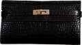 "Luxury Accessories:Bags, Hermès Shiny Black Alligator Kelly Long Wallet with Permabrass Hardware. R, 2014. Condition: 2. 8"" Width x 4.5"" He..."