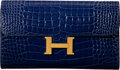 """Luxury Accessories:Bags, Hermès Shiny Blue Saphir Alligator Verso Constance Long Wallet with Gold Hardware. X, 2016. Condition: 3. 8"""" Width..."""
