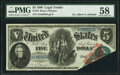 Error Notes:Large Size Errors, Foldover Error Fr. 73 $5 1880 Legal Tender PMG Choice About Unc 58.. ...
