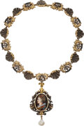 Estate Jewelry:Necklaces, Renaissance Revival Freshwater Pearl, Enamel, Gold, Silver Necklace. ...