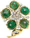 Estate Jewelry:Brooches - Pins, Carved Emerald, Diamond, Colored Diamond, Platinum and Gol...