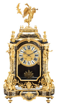 A Continental Louis XIV-Style Boulle Work Mantel Clock with Gilt Bronze Figural Mounts, 19th century 39-1/2 x 21 x