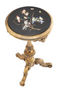 Furniture, A Continental Carved Giltwood Side Table with Pietre Dure Top, 19th century. 30-1/4 x 17-1/2 inches (76.8 x 44.5 cm). Pr...