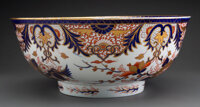 A Derby Porcelain Kings Pattern Punch Bowl, circa 1820 Marks: (crown-crossed batons-D), 3, L 6 x 14-3/8 in