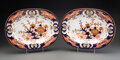 Ceramics & Porcelain, A Pair of Derby Porcelain Kings Pattern Meat Platters, circa 1820. Marks: (crown-crossed batons-D). 14-1/4 x 10-... (Total: 2 Items)