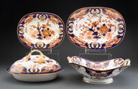A Group of Four Derby King's Pattern Partial Gilt Porcelain Serving Dishes, circa 1820 Marks: (crown), (crossed... (Tota...