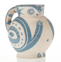 Sculpture, Pablo Picasso (1881-1973). Petite Chouette, 1949. Ceramic pitcher, with partial painting. 5-1/2 x 6 x 5 inches (14 x 15....