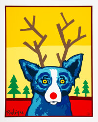 George Rodrigue (1944-2013) Blue Dog Truly Rudy, 2000 Serigraph in colors on wove paper 22-1/4 x
