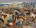 Paintings, Laverne Nelson Black (American, 1887-1938). Fiesta in Taos. Oil on canvas. 32 x 42-1/8 inches (81.3 x 107.0 cm). Signed ...