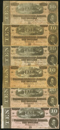 Confederate Notes:1864 Issues, T68 $10 1864 Six Examples Very Good or Better. ...