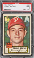 Baseball Cards:Singles (1950-1959), 1952 Topps Tommy Brown #281 PSA Mint 9 - None Higher. ...