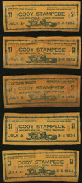 Obsoletes By State:Wyoming, Cody, WY- Cody Stampede $1 July 2-4, 1934 Leather Notes Ten Examples.. ... (Total: 10 items)