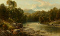 Paintings, Robert Scott Duncanson (American, 1821-1872). The Morning Hike, 1852. Oil on canvas. 12 x 19-7/8 inches (30.5 x 50.5...