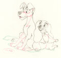 Animation Art:Production Drawing, Lady and the Tramp Tramp and Muzzled...