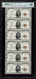 National Bank Notes:Nevada, Reno, NV - $5 1929 Ty. 2 First National Bank Ch. # 7038 Uncut Sheet PMG About Uncirculated 50.. ...