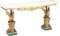 Furniture, A Continental Gilt Bronze and Malachite Console Table with Painted Wood Top, 19th century and later. 27 x 54-1/2 x 12 inches...