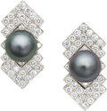 Estate Jewelry:Earrings, South Sea Cultured Pearl, Diamond, White Gold Earrings, Em...
