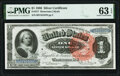 Large Size:Silver Certificates, Fr. 217 $1 1886 Silver Certificate PMG Choice Uncirculated 63 EPQ.. ...