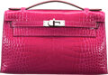 Luxury Accessories:Bags, Hermès Shiny Rose Scheherazade Alligator Kelly Pochette B...