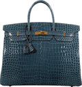 "Luxury Accessories:Bags, Hermès 40cm Shiny Blue Colvert Porosus Crocodile Birkin Bag with Gold Hardware. C, 2018. Condition: 1. 15.5"" Width..."