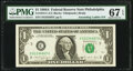 Ascending Ladder Serial Number 01234567 Fr. 1915-C $1 1988A Federal Reserve Note. PMG Superb Gem Unc 67 EPQ