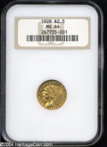 Indian Quarter Eagles: , 1928 $2 1/2 MS64 NGC. Apricot-gold color with pale green ...