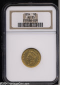 Three Dollar Gold Pieces: , 1854 $3 AU55 NGC. A briefly circulated representative of ...
