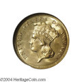 Three Dollar Gold Pieces: , 1874 $3 MS65 ★ NGC. Booming luster and carefully ...