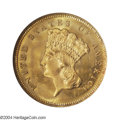 Three Dollar Gold Pieces: , 1880 $3 MS65 NGC. With an original business strike ...