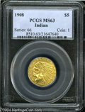 Indian Half Eagles: , 1908 $5 MS63 PCGS. A crisply struck and lustrous example ...