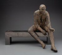 Hanneke Beaumont (Dutch, b. 1947) Man on Bench, 2002 Bronze 17 inches (43.2 cm) Ed. 1/25 Si