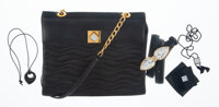 A Lalique Leather Handbag with Belt and Various Accessories Marks: LALIQUE, PARIS, MADE IN FRANCE 9-