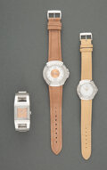 Jewelry, Three Lalique Fashion Watches. Marks: LALIQUE, STAINLESS STEEL, SWISS MADE, (various). 9 inches (22.9 cm) (longest). ... (Total: 3 Items)