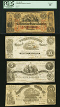 Confederate Notes:1862 Issues, T31 $5 1861 PF-2 Cr. 245 PCGS Very Good 10;. T20 $20 1861 PF-1 Cr. 139 Very Fine-Extremely Fine;. T36 $5 1861 PF-4 Cr.... (Total: 7 notes)