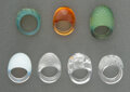 Jewelry, Seven Lalique Glass Cabochon Rings. Marks: Lalique, France. 1-1/2 inches (3.8 cm) (largest). Property from a Private... (Total: 7 Items)