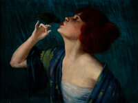 Harry Herman Roseland (American, 1866-1950) Woman with Bird Oil on canvas 19-3/4 x 25-3/4 inches