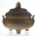 Other, A Chinese Gilt Bronze Tripod Censer with Carved Hardwood Cover. 12 x 13-1/2 inches (30.5 x 34.3 cm). ...