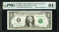 Mismatched Serial Number Error Fr. 1905-B $1 1969B Federal Reserve Note. PMG Choice Uncirculated 64 EPQ