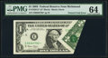 Foldover Error Fr. 1928-E* $1 2003 Federal Reserve Note. PMG Choice Uncirculated 64