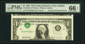 Inverted Third Printing Error Fr. 1923-F $1 1995 Web Federal Reserve Note. PMG Gem Uncirculated 66 EPQ