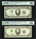 Error Notes:Inverted Third Printings, Inverted Third Printing Error Fr. 2071-G $20 1974 Federal Reserve Notes. Two Examples. PMG Graded Choice Uncirculated 63; Gem ... (Total: 2 notes)