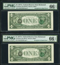 Error Notes:Third Printing on Reverse, Third Printing on Back Error Fr. 1910-E $1 1977A Federal Reserve Notes. Two Consecutive Examples. PMG Gem Uncirculated 66 EPQ...