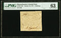 Colonial Notes:Massachusetts, Massachusetts October 16, 1778 3 Shillings Fr. MA-263 PMG Choice Uncirculated 63.. ...